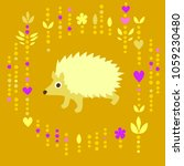 hedgehog on yellow with... | Shutterstock .eps vector #1059230480