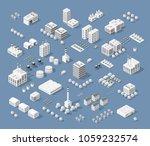 set of modern isometric... | Shutterstock . vector #1059232574