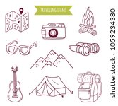 monochrome travel doodle... | Shutterstock .eps vector #1059234380