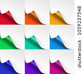 vector set of curled colored... | Shutterstock .eps vector #1059237548