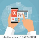 hand and smartphone doctor with ... | Shutterstock .eps vector #1059243080