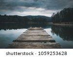 mole  pier  on the lake. ... | Shutterstock . vector #1059253628
