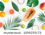 summer tropical composition.... | Shutterstock . vector #1059255173