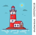 lighthouse tower lodge on the... | Shutterstock .eps vector #1059256118