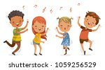 children dancing. boys and... | Shutterstock .eps vector #1059256529