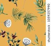 yellow seamless pattern... | Shutterstock . vector #1059257990