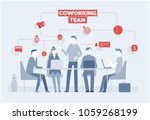 coworking. business concept... | Shutterstock .eps vector #1059268199