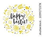 happy easter. flower circle... | Shutterstock .eps vector #1059272378