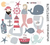 set of cute nautical elements.... | Shutterstock .eps vector #1059272678