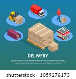 express delivery service flat...   Shutterstock .eps vector #1059276173