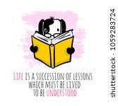 hand drawn cartoon smart dog... | Shutterstock .eps vector #1059283724