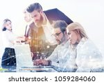businessman in office connected ... | Shutterstock . vector #1059284060
