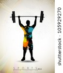silhouette of a weight lifter...   Shutterstock .eps vector #105929270