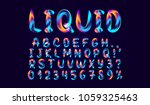 fluid colored letter. alphabet... | Shutterstock .eps vector #1059325463