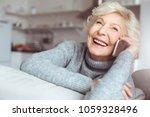 handsome grandmother in gray... | Shutterstock . vector #1059328496