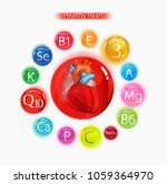 healthy heart. vitamins and... | Shutterstock .eps vector #1059364970