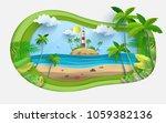 vector illustration on a summer ... | Shutterstock .eps vector #1059382136