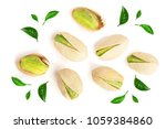 pistachios decorated with green ... | Shutterstock . vector #1059384860