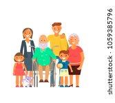 big family portrait including... | Shutterstock .eps vector #1059385796