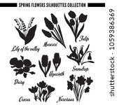 spring flowers silhouettes... | Shutterstock .eps vector #1059386369