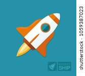 concept rocket on a blue sky... | Shutterstock .eps vector #1059387023