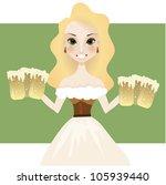 cute blonde bavarian waitress   Shutterstock .eps vector #105939440