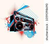 funky boom box graffiti | Shutterstock .eps vector #1059398690