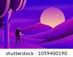 vector bright violet summer... | Shutterstock .eps vector #1059400190