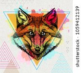 hipster animal fox on artistic... | Shutterstock .eps vector #1059412139