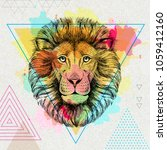 Stock vector hipster animal lion on artistic polygon watercolor background 1059412160