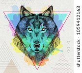hipster animal wolf on artistic ... | Shutterstock .eps vector #1059412163