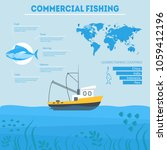 cartoon commercial fishing... | Shutterstock .eps vector #1059412196