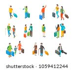 isometric travel people... | Shutterstock .eps vector #1059412244