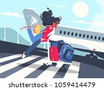 girl carrying baggage on... | Shutterstock .eps vector #1059414479