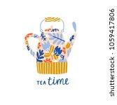 tea time illustration  floral... | Shutterstock . vector #1059417806
