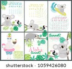 set of fun aloha posters and... | Shutterstock .eps vector #1059426080