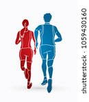 man and woman running together  ... | Shutterstock .eps vector #1059430160