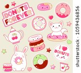 set of cute donut icons in... | Shutterstock .eps vector #1059436856