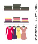 racks with clothes packed in... | Shutterstock .eps vector #1059437888