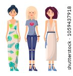 three casual girls in different ...   Shutterstock .eps vector #1059437918