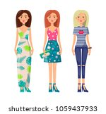 three cute ladies in vogue... | Shutterstock .eps vector #1059437933