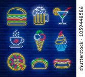 fast food and drink neon signs... | Shutterstock .eps vector #1059448586