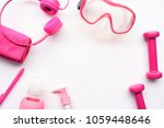 dumbbell and accessory isolated ... | Shutterstock . vector #1059448646