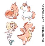 cute mythical creatures  ... | Shutterstock .eps vector #1059452690