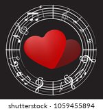 music note back ground with... | Shutterstock .eps vector #1059455894