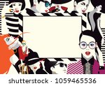 collage of fashionable girls in ...   Shutterstock .eps vector #1059465536
