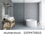 gray tile bathroom interior... | Shutterstock . vector #1059470810
