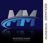 initial letter mm logotype...   Shutterstock .eps vector #1059474350