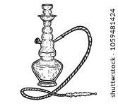hand drawn hookah illustration...   Shutterstock .eps vector #1059481424
