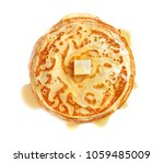 Stack Of Thin Pancakes With...